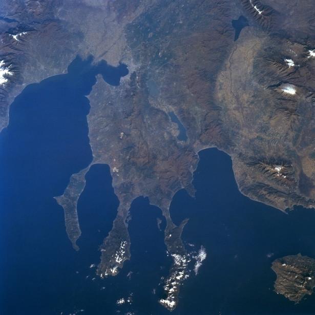 Grecja, Płw. Chalkidiki, widok z kosmosu. Fot. NASA