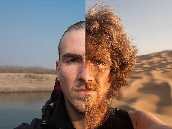 Pre i posle:desna polovina je s početka, a leva s kraja putovanja