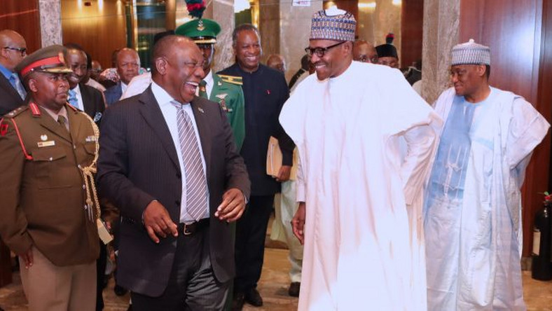 Muhammadu Buhari and South Africa's President, Cyril Ramaphosa at the Statehouse