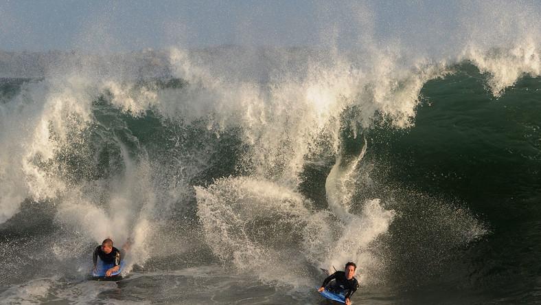 Boogie boarderzy na fali w Newport Beach, w Kalifornii
