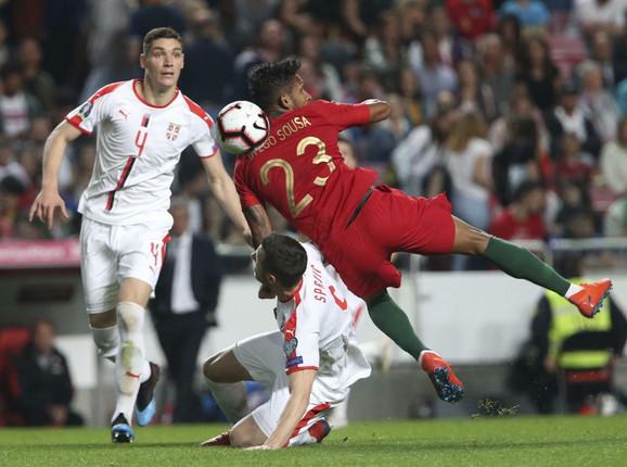 Nikola Milenković na meču protiv Portugala