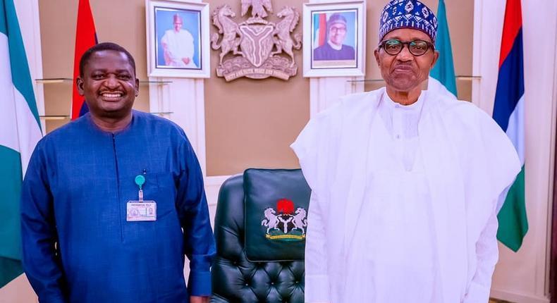 Femi Adesina (Right) with President Muhammadu Buhari [Presidency]