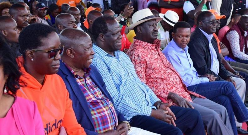 Raila Odinga and other politicians at the Bedroom Iko Locked rally