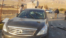 The scene of the attack that killed prominent Iranian scientist Mohsen Fakhrizadeh, outside of Tehran, Iran, on November 27, 2020.