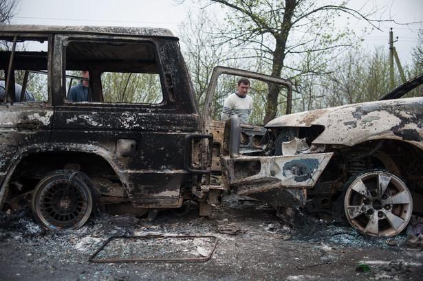 Atak na posterunek w Słowiańsku. Fot. EPA/ROMAN PILIPEY/PAP/EPA