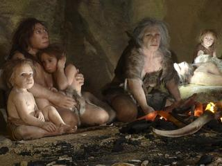 File photo of an exhibit showing the life of a neanderthal family in a cave in the new Neanderthal M
