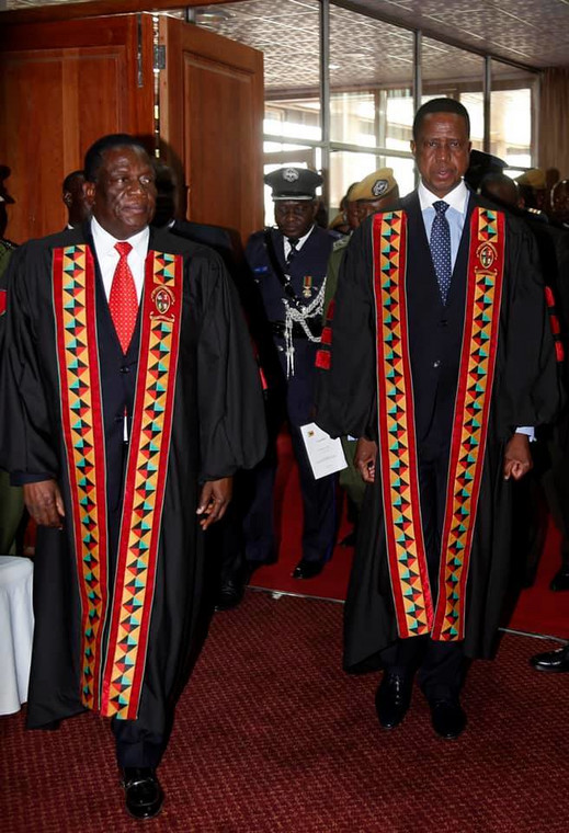 Zambian President Edgar Lungu (R) and his Zimbabwean counterpart Emmerson Dambudzo Mnangagwa were awarded with honorary doctorates in law for exceptional leadership and upholding the rule of law by the University of Zambia (UNZA.