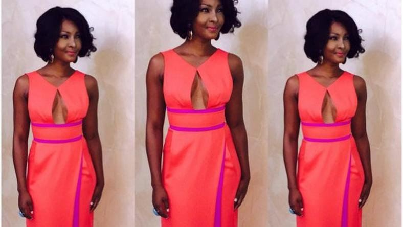The two-tone cutout gown looks awesome on the Osas Ajibade