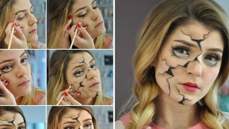 Jeśli zależy ci na subtelnym makijażu, pozostającym w Halloweenowym stylu, wybierz stylizację a la laleczka z porcelany. Kilka podstawowych kosmetyków i możesz wyczarować na swojej twarzy prawdziwe arcydzieło. Look w stylu lalki z porcelany doda ci uroku i… tajemniczości. Na twarz koniecznie nałóż jasny puder i domaluj dodatkową dolną powiekę zakończoną długimi rzęsami. Następnie użyj ukośnego pędzelka i ciemnym cieniem narysuj na twarzy nieregularne linie i pęknięcia. Wycieniuj miejsca obok pęknięć białym cieniem do powiek i bronzerem. Na koniec pomaluj usta jasnoróżową szminką tak, aby nadać im kształt serca. Zapleć dwa grube warkocze i gotowe! Twoja halloweenowa stylizacja na pewno zrobi piorunujące wrażenie.