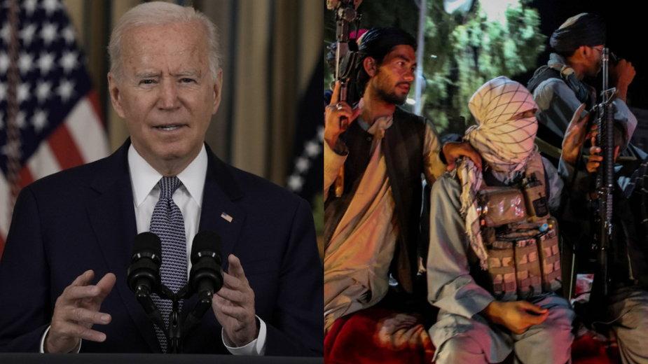 Prezydent USA Joe Biden i talibańscy bojownicy