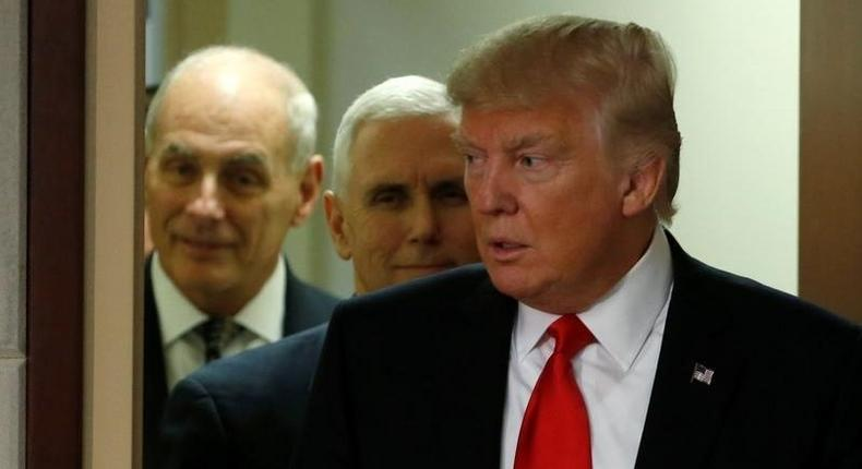 President Trump and Vice President Pence with John Kelly.