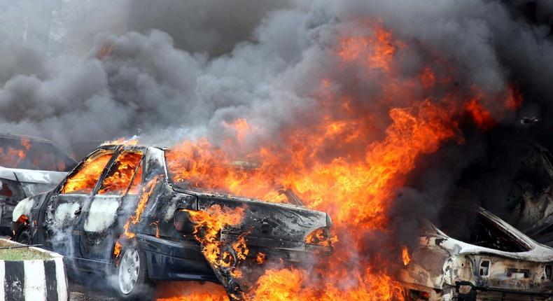 Car burns following an explosion (Photo for illustrative purposes only)