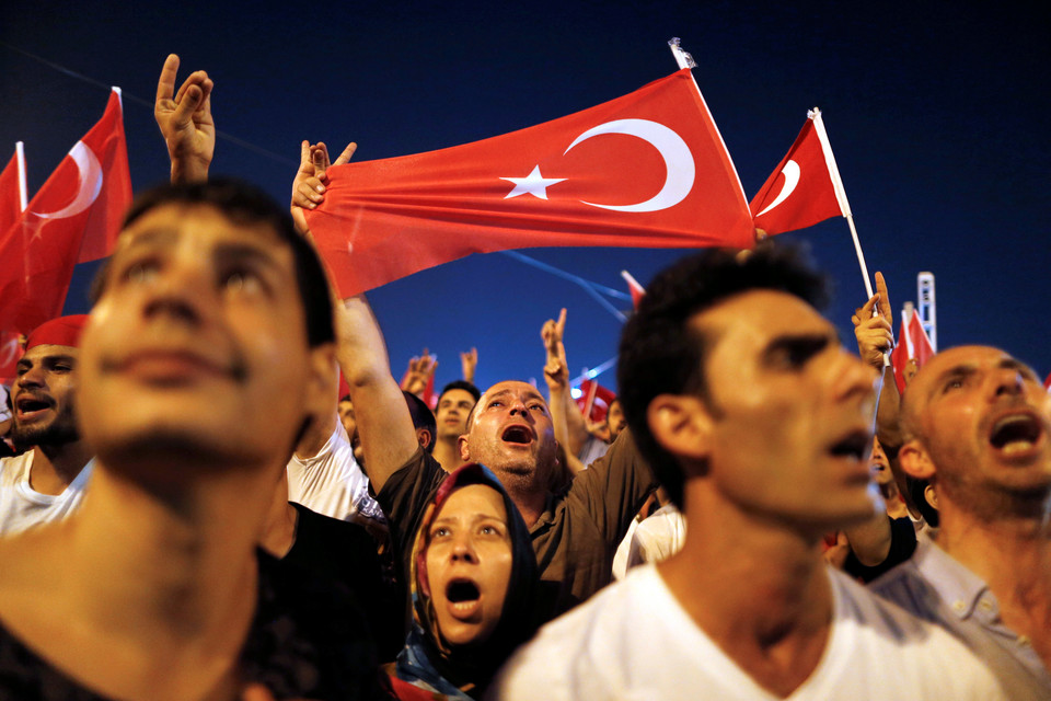 Supporters of Turkish President Tayyip Erdogan gather at Taksim Square in central Istanbul, Turkey