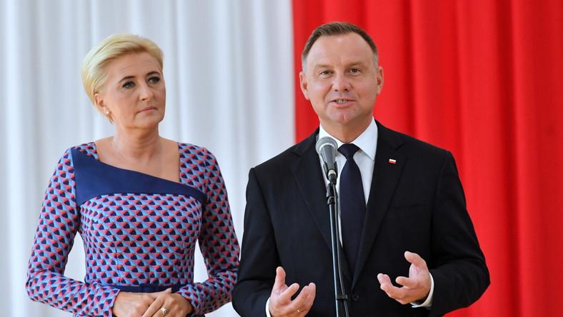 Prezydent RP Andrzej Duda oraz pierwsza dama Agata Kornhauser-Duda w Kruszewie