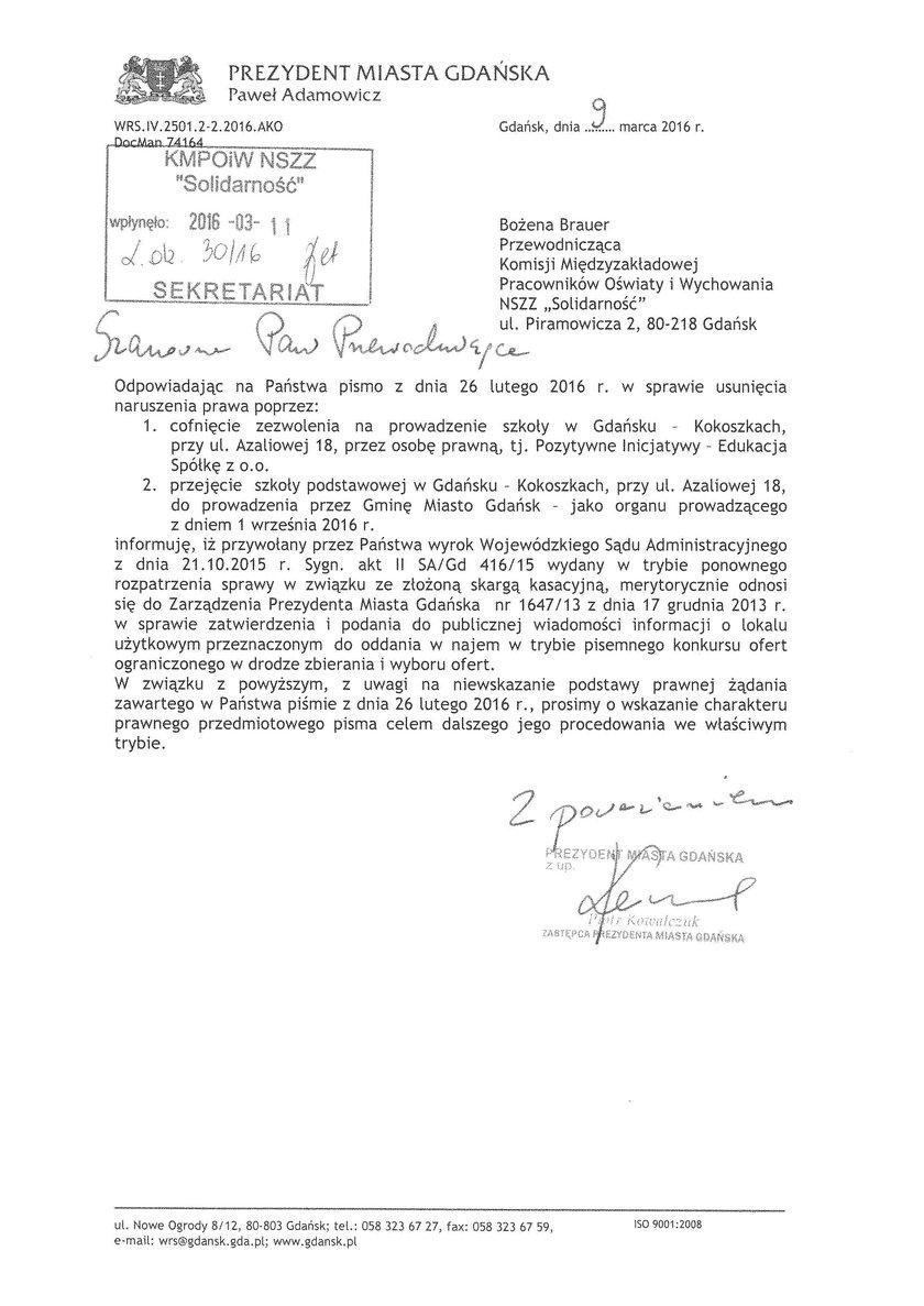 list Kowalczuka do Solidarności