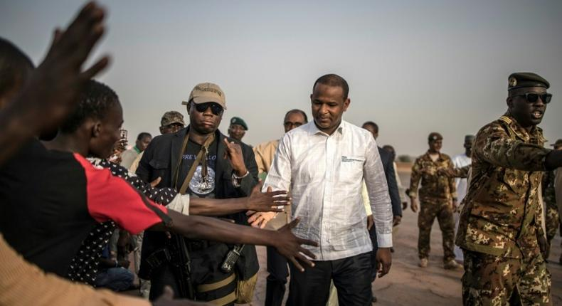 Malian Prime Minister Boubou Cisse greets supporters on visiting in Sevare, central Mali