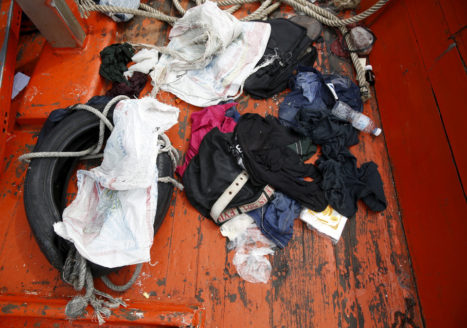 Clothes left behind on a boat that carried Rohingya migrants for three months is seen at Langkawi island, in Malaysia's northern state of Kedah, Malaysia