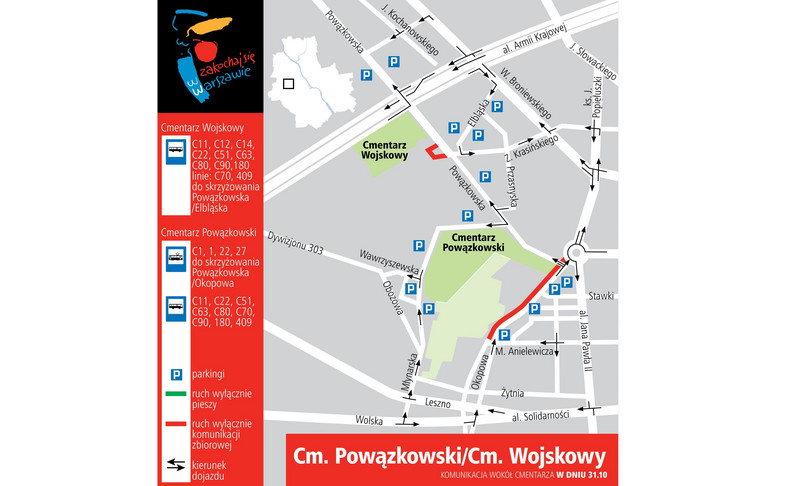 Cmentarz Powązkowski i Cmentarz Wojskowy - dojazd 31 października 2016