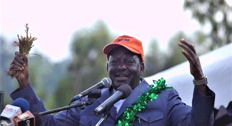 Cord leader Raila Odinga speaking when he addressed a crowd in Maua, Meru County in a past rally.