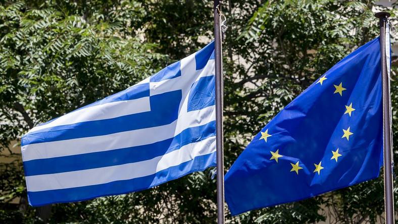 Flagi Grecji i Unii Europejskiej