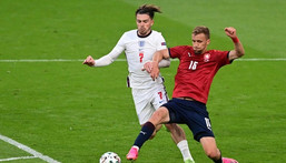England midfielder Jack Grealish (L) Creator: NEIL HALL