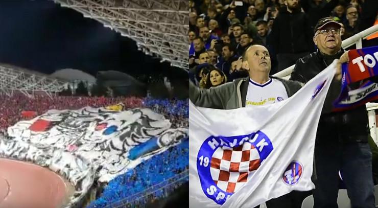 Navijači Hajduka iz Splita na derbiju protiv Dinama