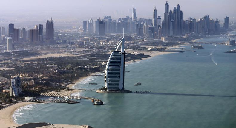 A general view of the luxury Burj al-Arab Hotel at Jumeirah area in Dubai, UAE December 9, 2015.