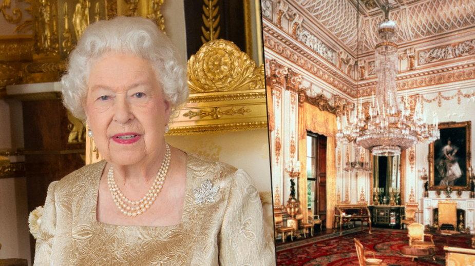 Elżbieta II i wnętrza Pałacu Buckingham