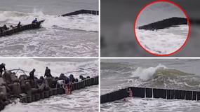 Mężczyzna nie mógł wyjść z morza. Na szczęście pomogli mu plażowicze