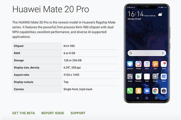 Android vest Gugl je vratio Mate 20 Pro na listu za beta verziju novog Androida