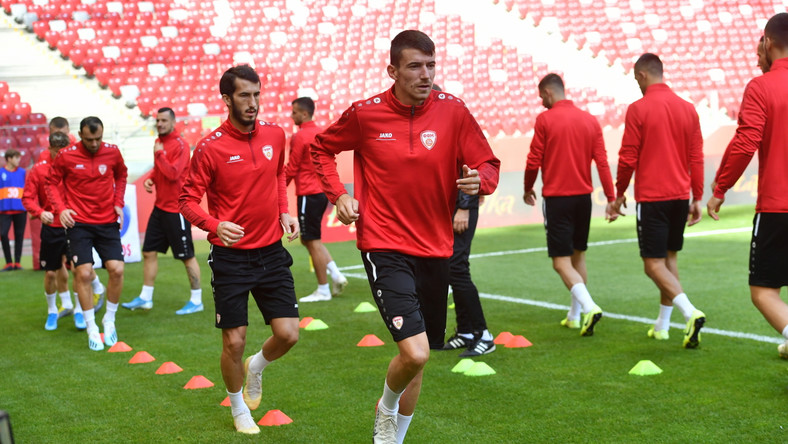 Piłkarze reprezentacji Macedonii Północnej podczas treningu w Warszawie