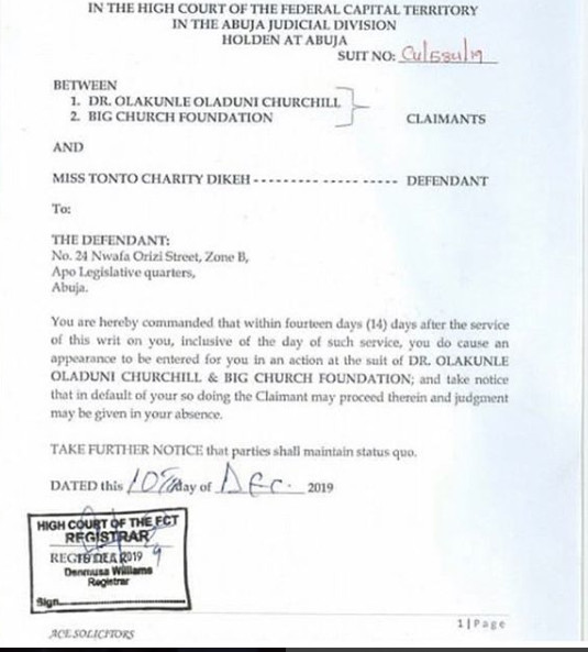 Tonto Dikeh has been sued by her ex-husband, Churchill Olakunle to the tune of N500M over malicious statements made against him in her famous YouTube video in 2019. [LindaIkeji]