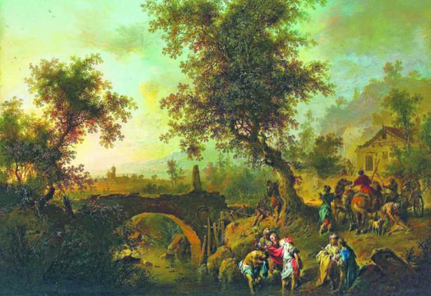 """Johann Conrad Seekatz, """"Św. Filip chrzci sługę królowej Kandaki"""", odzyskany w lutym 2014 ., szacunkowa wartość 250 tys. zł"""