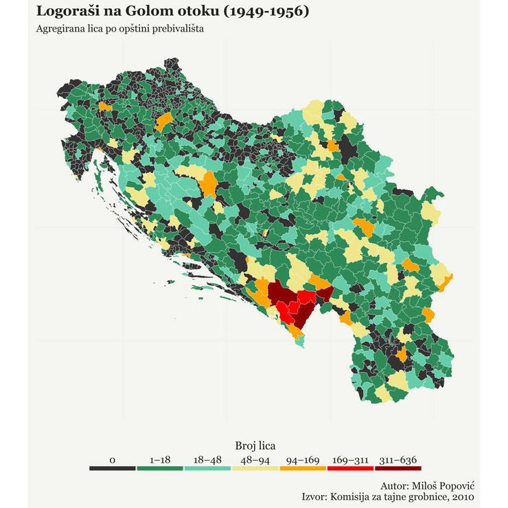 mapa logoraši goli otok foto Twitter Milos Popovic