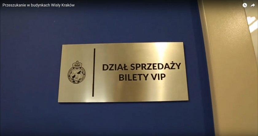 Jest nagranie z przeszukania w siedzibie Wisły Kraków