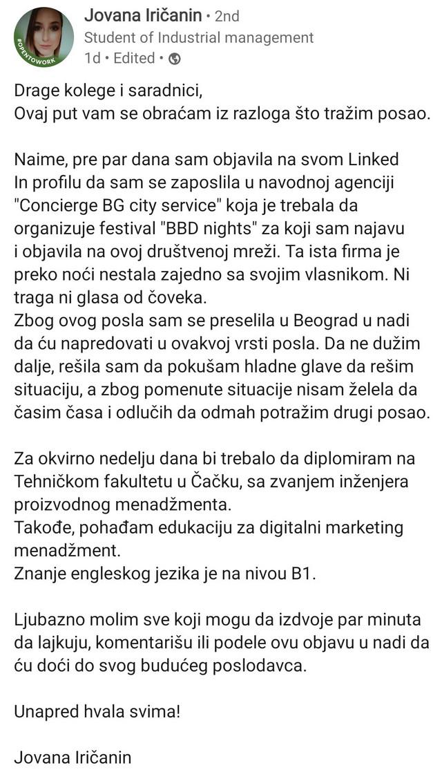 Jovanina objava na LinkedInu