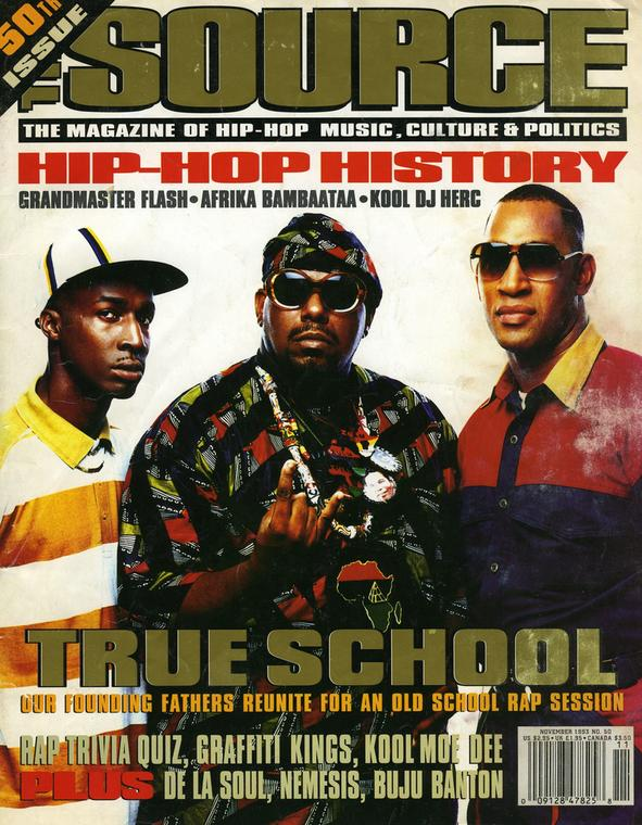 A cover of THE SOURCE Magazine with the founding fathers of Hip-Hop. THE SOURCE for many years was considered the Bible of Hip-Hop (THE SOURCE)