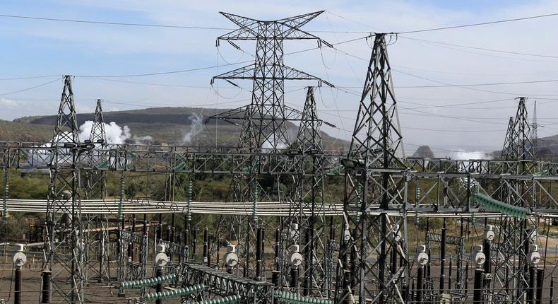 Pylons of high-tension electricity power lines are seen at the Olkaria II Geothermal power plant near the Rift Valley town of Naivasha.