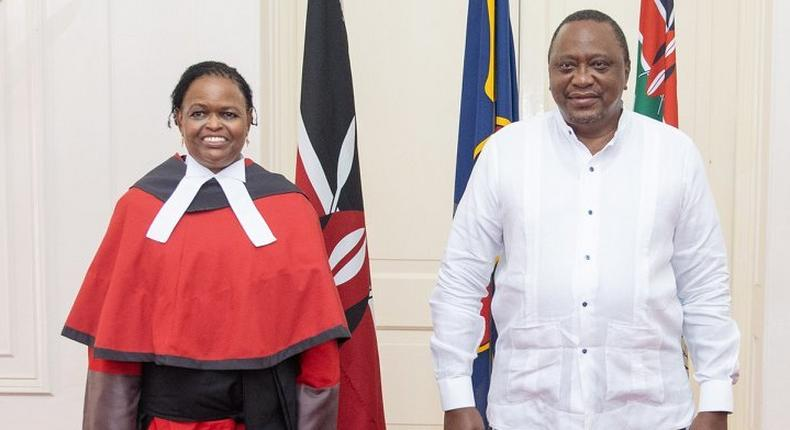 President Uhuru Kenyatta presiding over the swearing in ceremony for Chief Justice Martha Koome at State House