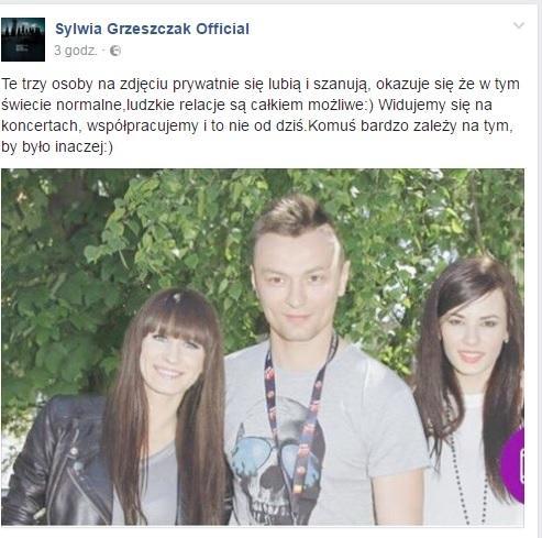 Sylwia Grzeszczak, Liber i Natalia Szroeder - screen z Facebooka