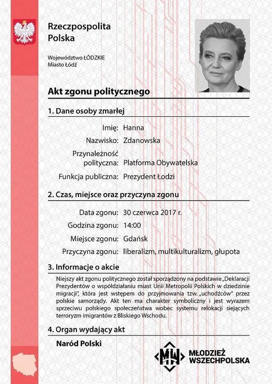 Grafiki tego typu pojawiły się na profilu Młodzieży Wszechpolskiej