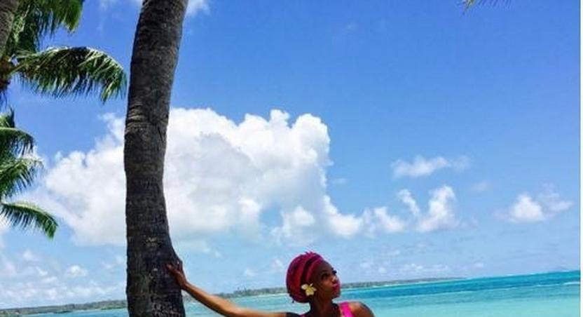 Bonang Matheba at the beach