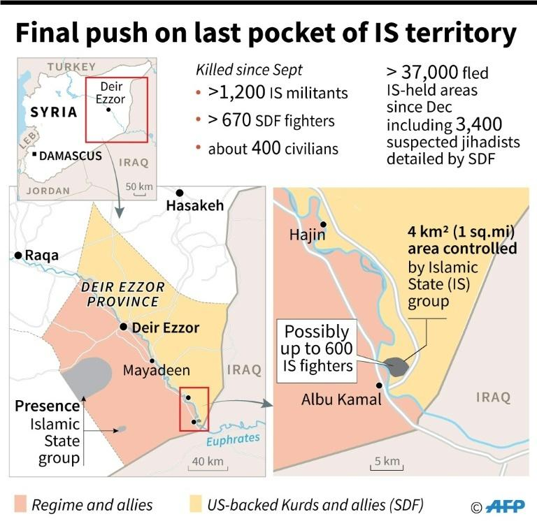 Map showing territorial control in eastern Syria as US-backed Kurdish forces continue the final offensive on the last pocket of territory held by the Islamic State group.