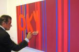 Milovan Destil Marković Šta da se radi – Okupiraj, 2012. pigment i polikolor na platnu, 86 x 250 cm Ljubaznošću Sportsko-kulturnog centra Požega