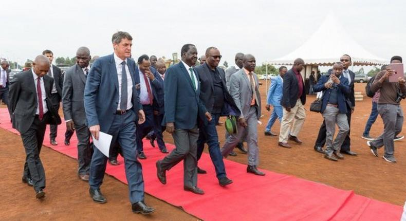 Raila Odinga arriving for the ground breaking ceremony of 1200 housing units by Unity Homes at Tatu City  on Friday