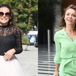 Anna Mucha i Edyta Herbuś przed studiem TVP. Która prezentowała się lepiej?