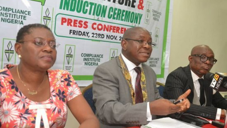 FILE PHOTO: L-R: Isioma Gogo-Anazodo, Chairman, Committee Programmes, Education and Examination; Pattison Boleigha, President and Abimbola Adeseyoju, Director, Partnership, Strategy and Communication – all of the Compliance Institute Nigeria (CIN), at the press briefing to announce the 2nd Investiture and Induction Ceremony of the institute in Lagos.   [Daily Trust]