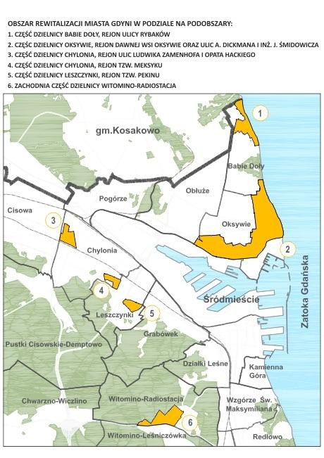 Sześć obszarów Gdyni, przeznaczonych do rewitalizacji