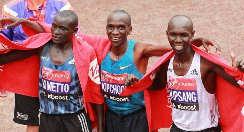 Eliud Kipchoge, Wilson Kipsang and Dennis Kimetto after the London Marathon