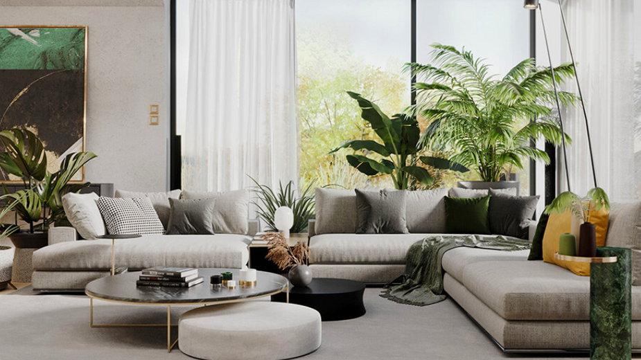 Duży dom został wypełniony roślinami, proj. modeko.studio